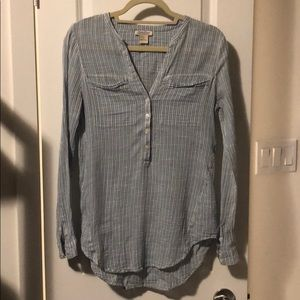 Blue and white stripped lucky brand blouse